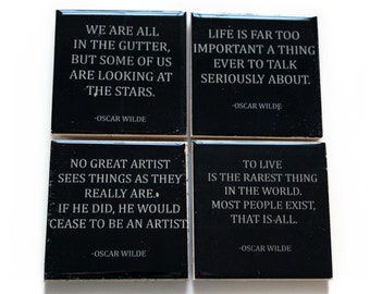 OSCAR WILDE Quotes Coaster Set (4 Stone Coasters, Black and White) Literature Home Decor