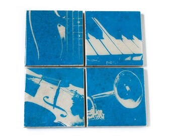 Music Coaster Set (4 Musical Instrument Stone Coasters, Blue and White) Music Home Decor - Gift for Musician