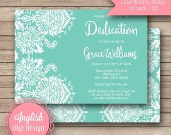 Lace Dedication Invitation, Printable Lace Baptism Invite, Damask Invitation, Damask Lace Dedication Invite in Teal & White