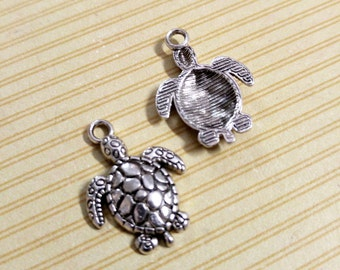 Turtle Charms Silver Sea Turtle Charms Silver Turtle Charms Ocean Charms Nautical Charms Sea Animal Charms 23mm 10 pieces