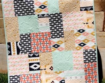 Southwest Tribal Girl Baby Quilt, Modern Bedding, Crib Cot Nursery, Aztec Arizona Art Gallery Fabrics, Coral Mint Green