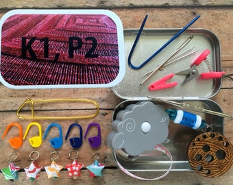 Knitter's Tool Tin - K1, P2 - Knit kit tin with knitting and notions for your WIP bag!