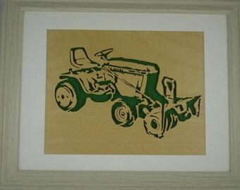 John Deere 317 Garden Tractor and 49 Snowblower Handmade Birch Wood With A Scroll Saw