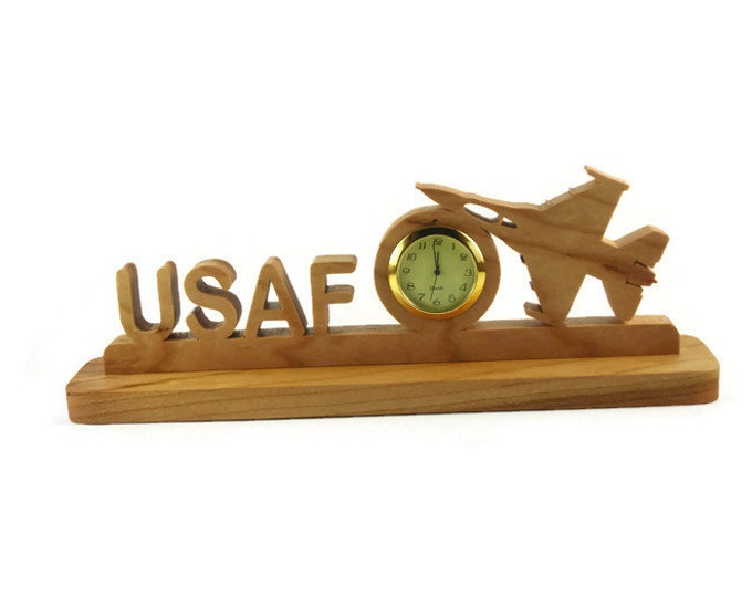 United States Air Force USAF Military Desk Or Shelf Clock Handmade From Cherry Wood By KevsKrafts