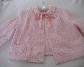 1950's Bed Jacket, Lounge Sleepwear, Stella Fashion, Pink Polka Dot