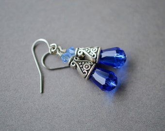 Cobalt Blue Earrings, Dark Blue Earrings, Surgical Steel Earrings, Ornate Earrings, Steel Earrings, Light Sapphire Earrings