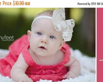 10% off SALE Newborn headband, baby headband, adult headband, photo prop The single sprinkled- Victorian lace bow- stretch headband