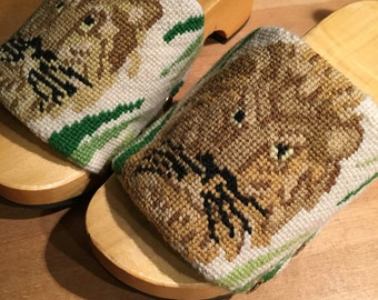 Handmade Needlepoint Lion Clog Sandals