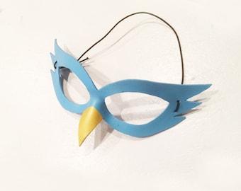Light Blue Bird Mask - handmade leather Costume Mask for Child or Adult Halloween