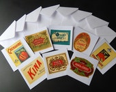 8 Greeting Cards Made with Vintage French Fancy Drinks Labels 1920-30s Not Reprints