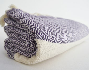 SALE 30 OFF / BathStyle Diamond Turkish Beach BathTowel / Purple /  Wedding Gift, Tea, Spa, Swim, Pool Towels