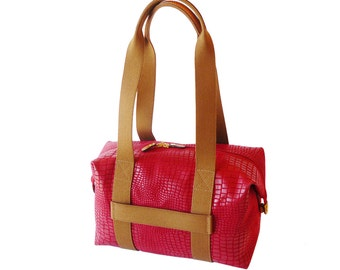 Authentic Bric's Milano Safari Red Travel Tote Duffle Shoulder Bag Made in Italy XL