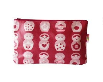 Penny Scallan Pink Russian Nesting Doll Travel Case Cosmetic Bag Vegan Friendly