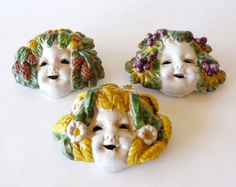 Italian Majolica Bacchus Masks Spring Fall Winter Wall Plaque Made in Italy Set of 3