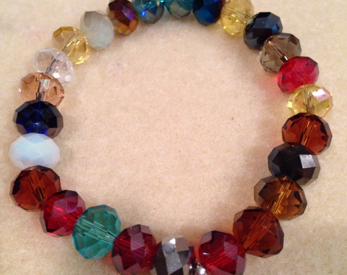 Crystal Multi Color Aurora Borealis Iridescent Faceted Glass Rondelle Bead Stretch Bracelet with Sterling Silver Accent