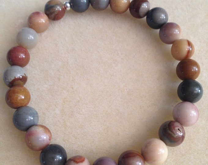 Polychrome Jasper Bracelet, Jasper Bracelet, 8mm Stretch Bead Bracelet, Yoga Bracelet, Meditation Bracelet, Polychrome Jasper