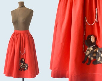 1950s Red Poodle Skirt size M
