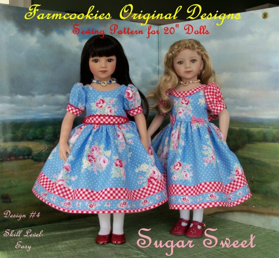 "PRINTED  Sewing Pattern / SUGAR SWEET for 20"" Maru & Friends  or 18"" American Girl Dolls"