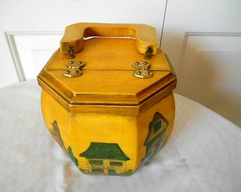 Vintage folk art hand painted wooden Octagon box Purse