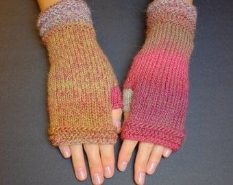 Knitted Fingerless Gloves (Wrist Warmers, Fingerless Mittens, Fingerless Mitts) - Multicolor Pink, Sand and Light Gray