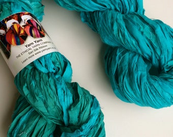 Silk sari ribbon, 100g, premium quality sari silk, ribbon yarn, aquamarine. Knitting, jewellery making and more.