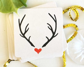 Christmas Coasters - Christmas Table Decor -  Reindeer Decor - Reindeer Antlers - Holiday Decor - Christmas Party Supplies - Bar Coasters