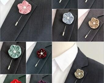 Flower lapel pin, Red Cotton Linen poppy boutonniere, mens lapel pin, lapel flower, wedding boutonnire, red lapel flower pin, mens lapel pin