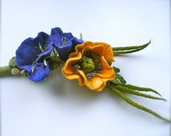 Romantic handmade flowers necklace  -Felted necklace - Can be a belt - felt necklace- floral accessories
