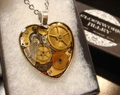 Clockwork Heart with Gears and Watch Parts Steampunk Pendant Heart Necklace- Great Valentines Day Gift (1946)