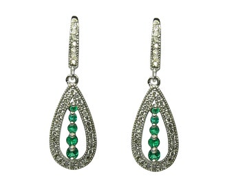 Black Dress Required! 1.80tcw Colombian Emerald & Diamond Dangle Earrings 14k
