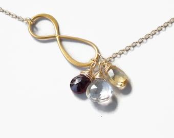 Large Infinity Birthstone Necklace / 1, 2, 3, 4, 5, 6 Gemstone Necklace, Mothers Necklace / Infinity Gemstone Necklace / Family Necklace