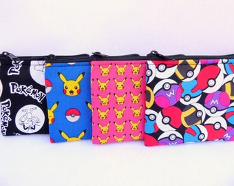 Pokemon Party Favors Set of 4 Assorted Coin Bags //Pikachu// Bridal // Bridesmaid Gift // Party Favors // Pokemon Go