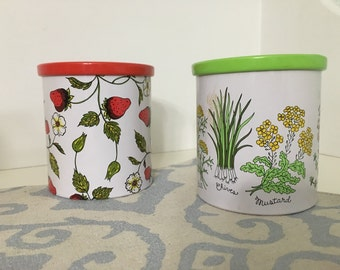 Set of (2) Strawberry and Herb Tin Canister/Small