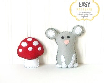 Mouse Stuffed Animal Pattern, Felt Hand Sewing Mouse & Mushroom Plushie Patterns, Woodland Mouse Softie Pattern, Instant Download