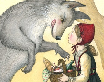 """8x10"""" Print of Little Red Riding Hood & Big Bad Wolf"""