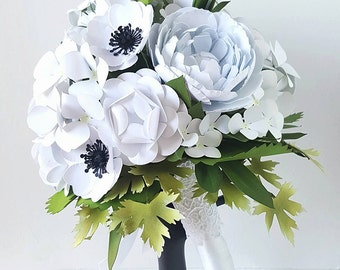 Paper Bouquet - Paper Flower Bouquet - Wedding Bouquet - White - Hydrangea and Rose - Custom Made - Any Color