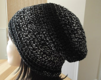 Black Slouchy Beanie Grey Slouchy Beanie Cold Weather Hat Ice Skating Snow Playing Hockey Mom Hockey Dad