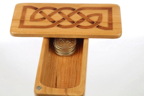 "Stash Box, 5"" x 2"" x 1"", ST6 Celtic Knot, Solid Cherry, Rare Earth Magnets for closure and security, Paul Szewc, Masterpiece Laser"