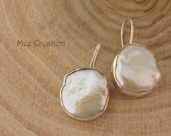 EE1140001) Baroque Pearl Earrings, Irregular Earrings, Drop Pearl Earrings, Fresh Water Earrings, 925 Sterling Silver Earrings