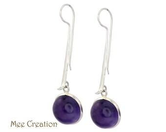 EE11070008) Amethyst Earrings, Amethyst Round Cabochon Earrings, Purple Earrings, Quartz Earrings, Amethyst Drop Earrings, Bohemian Earrings