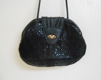 Vintage 1980s LYRELLA small black mesh formal crossbody handbag