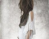 White ruffle sleeve top/Short sleeve women/Scoop neck tank/Cold shoulder shirt