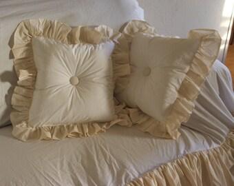 "shabby throw pillow w/ 5"" ruffle"