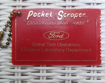 Vintage Ford Motor Company Global Test Operations Pocket Window Ice Scraper Key Chain