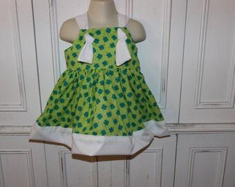 St. Patrick's Day Glitter Shamrocks Girls Knot Dress Size 2T SAMPLE SALE