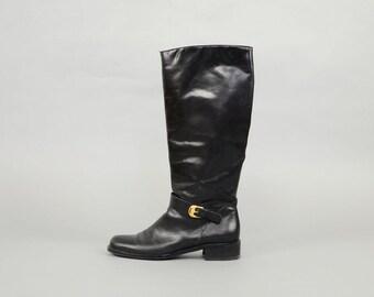 ETIENNE AIGNER Legacy II Riding Boots (Black) Sz 8