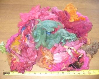 Dyed Wool Locks for Sale Felt or Spin  Hand dyed Wool Fiber 5 ounces dyed fleece  #G