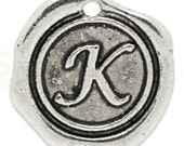 """Add On Initial """"K"""" Charm, personalized letter charm, monogram, Personalized Keychain, Personalized Necklace, antiqued silver plated charm"""