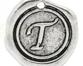 """Add On Initial """"T"""" Charm, personalized letter charm, monogram, Personalized Keychain, Personalized Necklace, antiqued silver plated charm"""