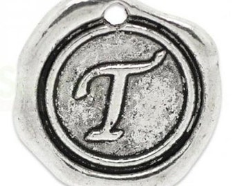 "Add On Initial ""T"" Charm, personalized letter charm, monogram, Personalized Keychain, Personalized Necklace, antiqued silver plated charm"